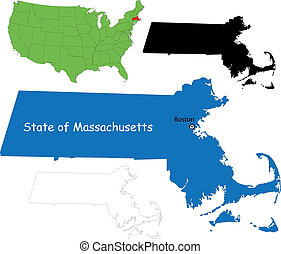 Massachusetts map - State of Massachusetts, USA