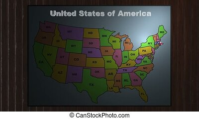 Massachusetts pull out from USA states abbreviations map -...