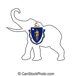 Massachusetts Republican Elephant Flag