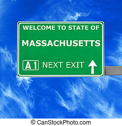 MASSACHUSETTS road sign against clear blue sky