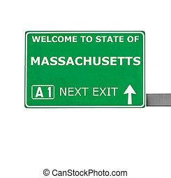 MASSACHUSETTS road sign isolated on white