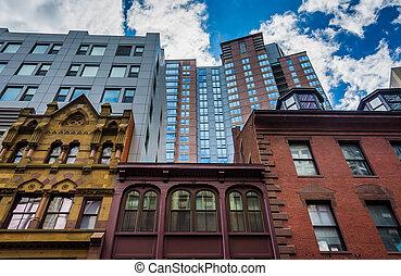massachusetts., rozmanitý, architektura, boston
