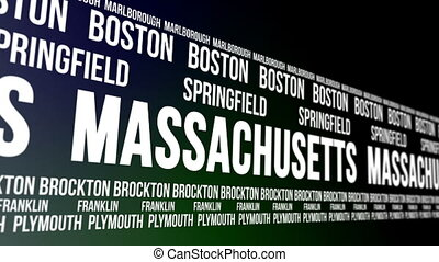 Massachusetts State and Major Citie - Animated scrolling...
