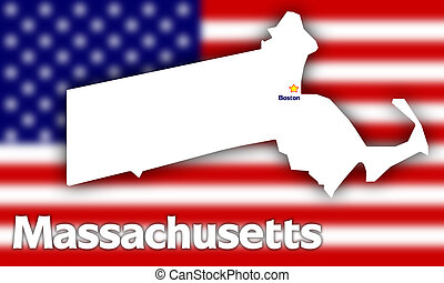 Massachusetts state contour with Capital City against ...