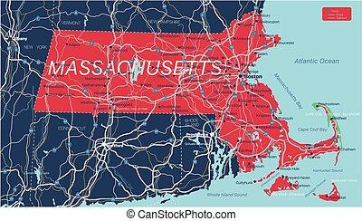 Massachusetts state detailed editable map