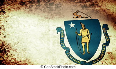 Massachusetts State Flag Waving, grunge look