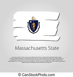 Massachusetts State Flag with colored hand drawn lines in Vector Format