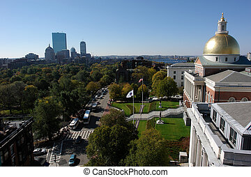 Showing Beacon street and the Massachusetts State House on a clear day