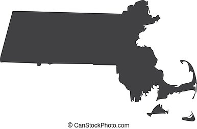 Massachusetts state map in black on a white background. Vector illustration