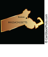 Massachusetts state map usa in gold with capital name