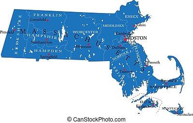 Massachusetts state political map