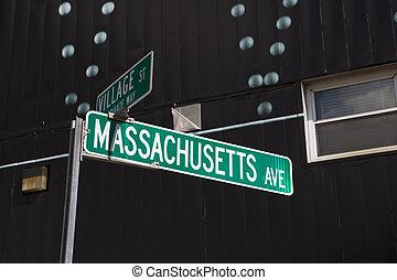 Massachusetts street sign, Cambridge, MA