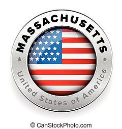 Massachusetts Usa flag badge button