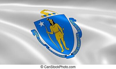 Massachusite flag in the wind