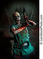 massacre - Horrible scary zombie man on the ruins of an old...