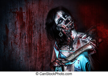 massacre - Scary bloody zombie girl with an ax. Halloween.