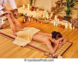 massage., 女, フィート, 得ること