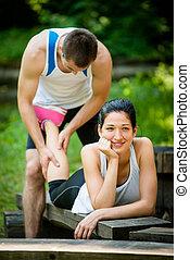 Massage after sport jogging