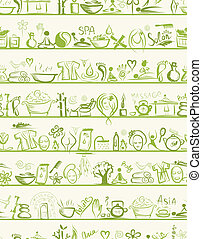 Massage and spa design elements on shelves, seamless pattern