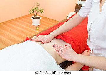 massage., anti-cellulite, ventre, recuperation., peau