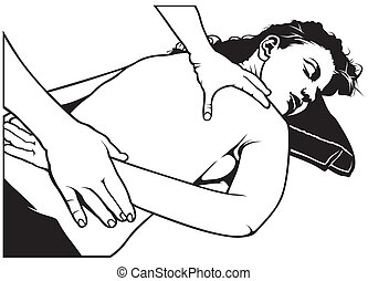 Massage - Black And White Illustration, Vector