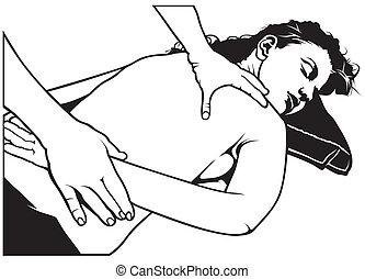Massage - Black And White Illustration, Vector