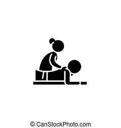 Massage black icon concept. Massage flat  vector symbol, sign, illustration.
