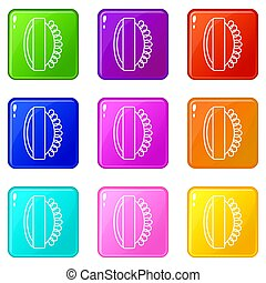 Massage brush icons set 9 color collection