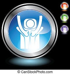 massage chrome crystal button.