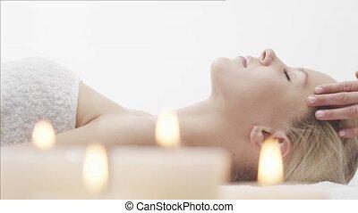 massage, frau, gesunde, care., salon., thailändisch,...