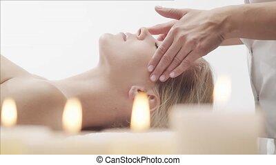 massage, gesunde, thailändisch, frau, spa, haut, junger,...