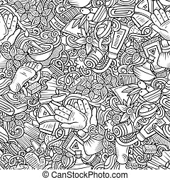 Massage hand drawn doodles seamless pattern. Spa therapy background