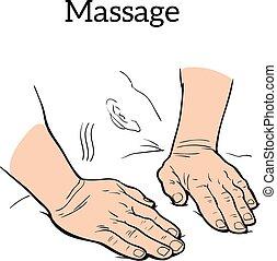 massage., médico, manual, terapêutico, terapia