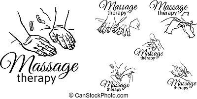 massage., medizin, handbuch, therapeutisch, therapie