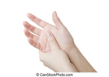 Massage of female hands - Massage the palm. Care of female...