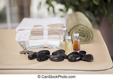 Massage oils and stones are ready