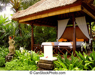 Massage pavilion at tropical resort (Bali, Indonesia)
