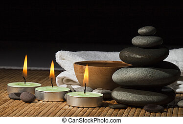 massage - SPA. Beautiful stones for a massage on a white...