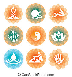 Set of massage, yoga and spa icons on the colorful abstract background Vector illustration