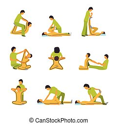 A vector illustration of massage spa therapy icon sets