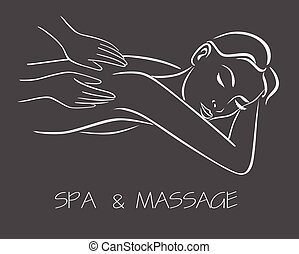 massage spa therapy line drawing