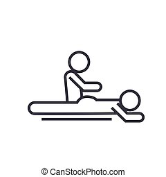 massage spa therapy linear icon, sign, symbol, vector on isolated background