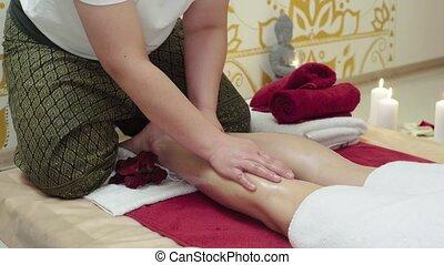 Massage Specialist Doing Massage of Womans Feet