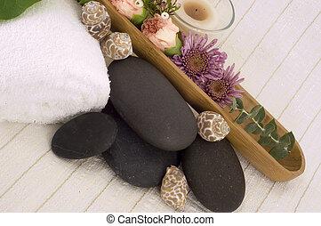 massage, steine, blumen,