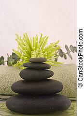 massage, steine, grün, ast