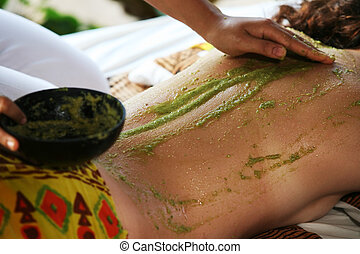 Massage - White woman on massage in Bali salon