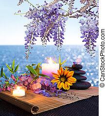 Massage stones, daisies