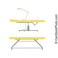 Massage Table and Furniture with Lamp Set Vector