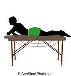 Man on top of a massage table on a white background