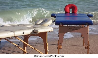 Massage tables on the beach